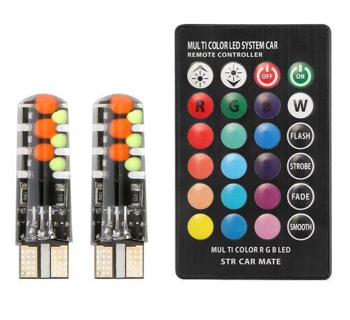 Габариты RGB Led W5W T10 разноцветные , стробоскоп