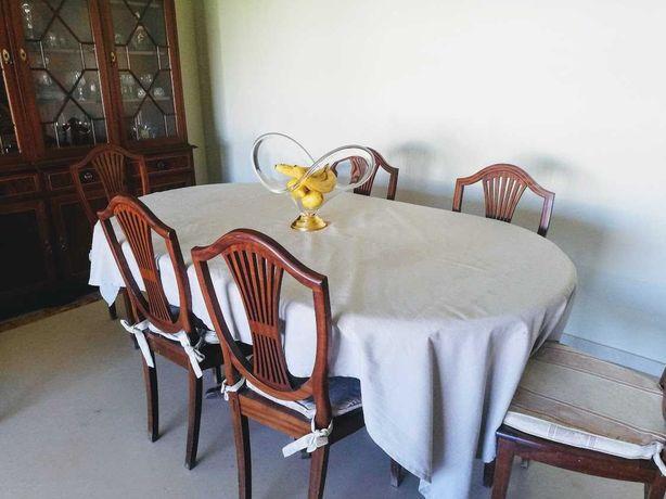 Mesa Sala em Madeira + 6 Cadeiras