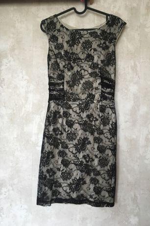 Elegancka, koronkowa sukienka z podszewką MANGO rozm. S