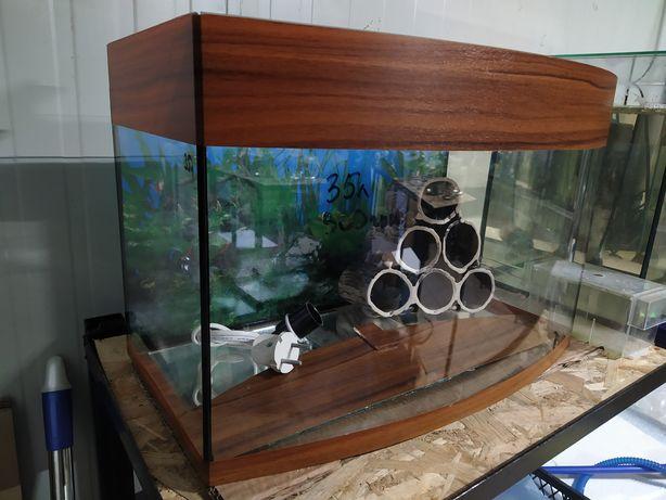 Аквариум для рыбок, террариум с мостиком для черепахи