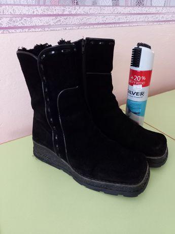 Зимние замшевые ботинки 40р.