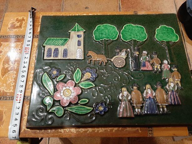Stary kafel ceramiczny Jie Kościółek