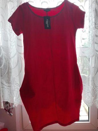 Czerwona letnia sukienka, krótki rękaw, 36/S