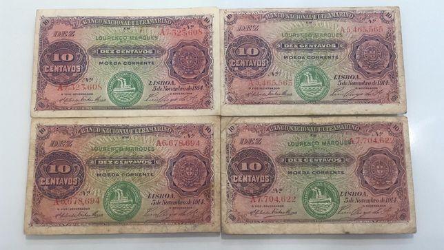 Notas 10 Centavos 1914 Moçambique BNU