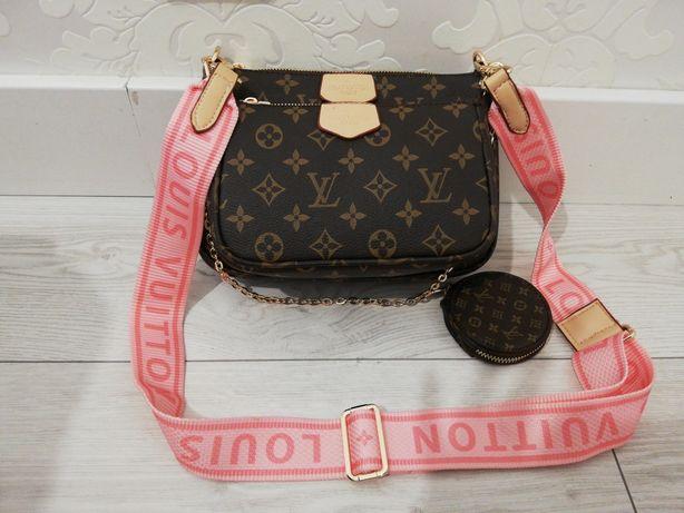 Piękna torebka kopertówka Louis Vuitton monogram multi pochette róż