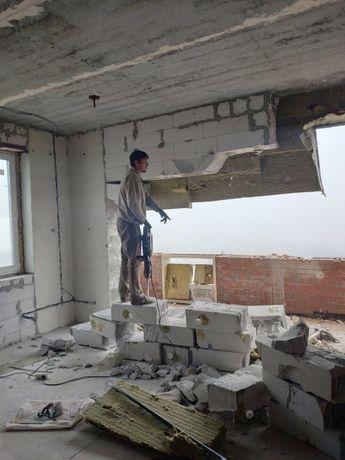 Демонтаж в квартире, домов, строений. Земляные работы. Вывоз мусора..