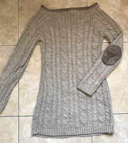 Теплая вязаная туника свитер длинный тепла вязана туніка
