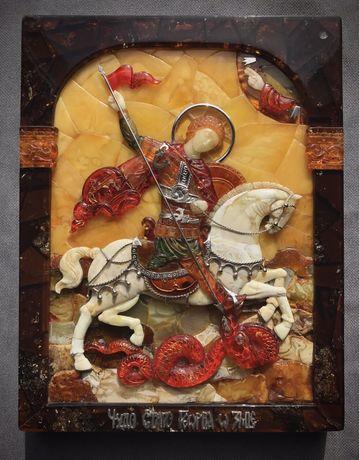 Икона Георгия Победоносца из янтаря мозаика серебро бурштин