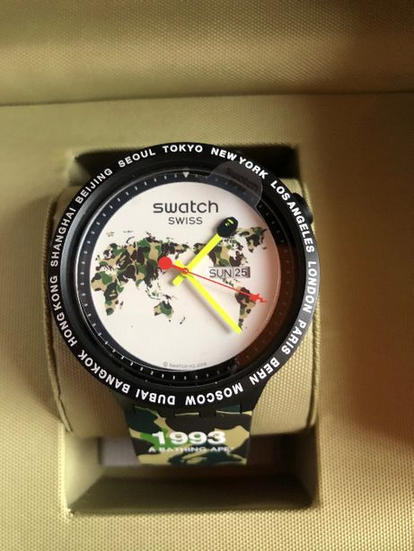 NOWY zegarek Swatch x Bape Big Bold The World Edition, wys. GRATIS