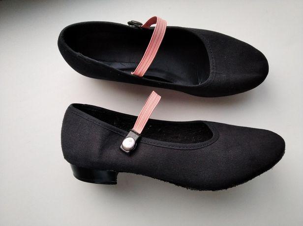 Туфли 1st Position для танцев UK1,5, черные, 34р.текстиль девочке