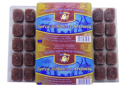 Serca wołowe z artemią - pokarm mrożony dla ryb blister 100g