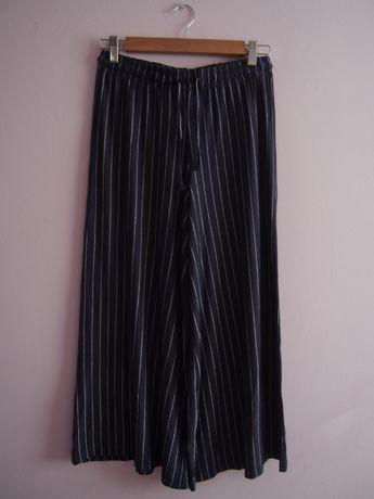 Granatowe spodnie w paski z szerokimi nogawkami C&A, 36/S, JAK NOWE