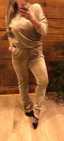 Dres komplet welurowy bawełniany L/XL NOWY