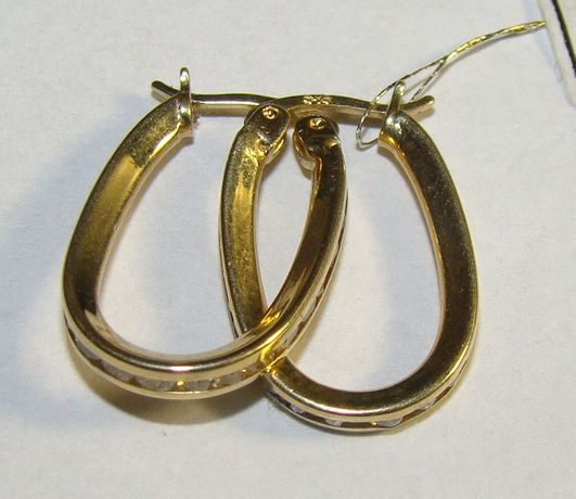 TANIO !! Złote kolczyki owal próby 585 14 karat -Firma Szafir- Wzór 19