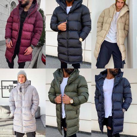 Мужская длинная куртка на зиму Зимний мужской пуховик черный длинный