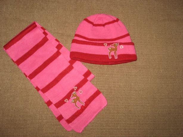 Набор шапка и шарф трикотаж розовый для девочки 6 мес.-1,5 год.