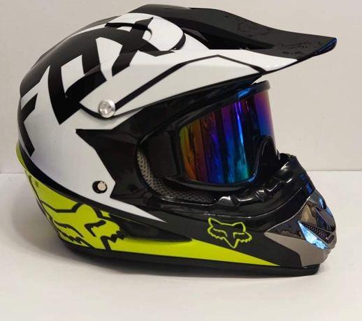 Kask Fox v1 z goglami Honda/KTM/Yamacha/Suzuki/ATV/Quad/Cross/Enduro/