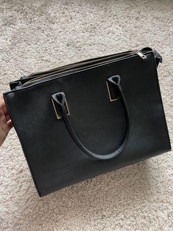 Чорна велика жіночка сумка, черная большая вместительная сумка