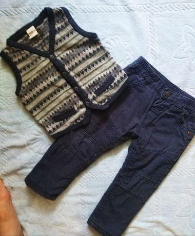 Брюки, джинсы на флисе жилетка в подарок h&m 80-86 см