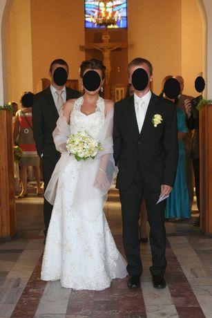 śliczna koronkowa suknia ślubna ecru rozmiar 38-40 + gratis szal