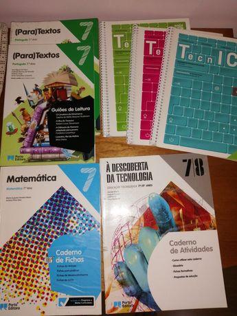 Cadernos de atividades 7°ano de português, matemática e Ed.tecnologica
