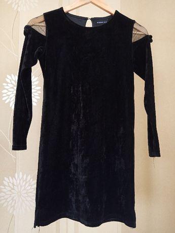 Черное платье велюр на праздник 146 см Резервд Reserved