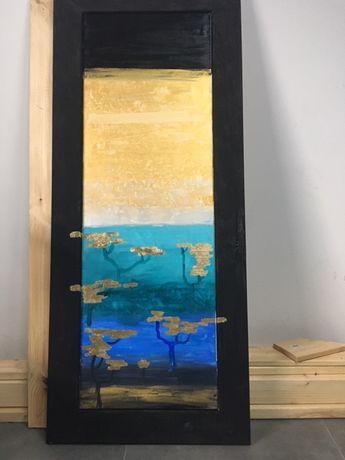 OBRAZ AKRYL 120 X 40 CM LAS ręcznie malowany, w ramie sosnowej