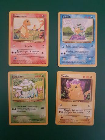 Cartas Pokemon 1999 - Charmander, Squirtle, Bulbassaur e Pikachu (EN)