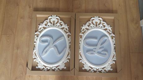 Ramki IKEA z inicjałami K i Ł - dekoracja ślubna