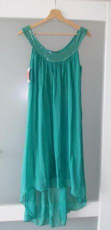 Zwiewna sukienka turkusowa na lato, ciążowa 36/38/40 (S,M,L) NOWA