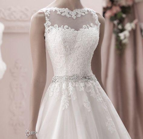 suknia ślubna koronka ozdoby tren linia-A 46 xxxl
