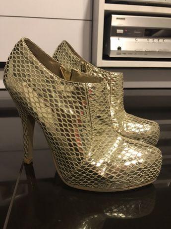 Śliczne złote imitacja skory węża buty połysk botki sylwester święta