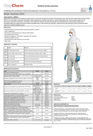 Kombinezon Biologiczny C210 Oxyline en 14126