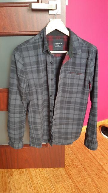 Koszula w czarno-szarą kratę S
