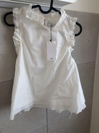 MANGO | biała bluzka z falbankami bez ramion koszulka kremowa