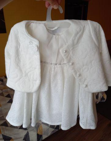 Sukienka bolerko 74 białe śmietankowe na chrzest okazje