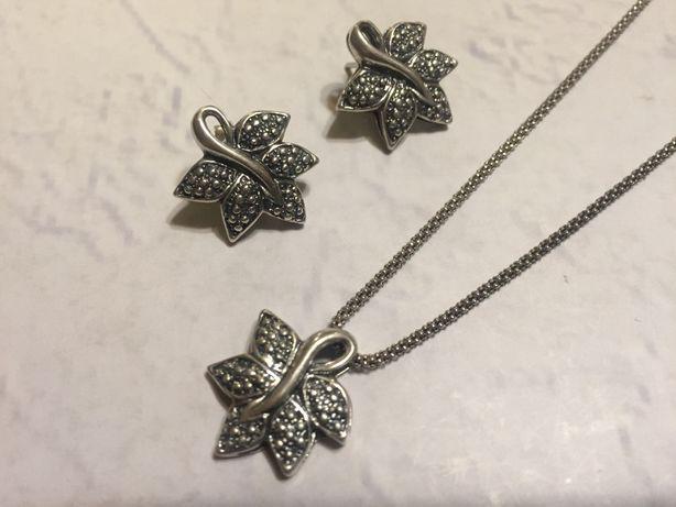 biżuteria kolczyki z zatyczkami i wisiorek komplet zestaw srebro nowe