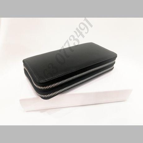Мужской кожаный кошелек клатч портмоне барсетка на две молнии 2663-А