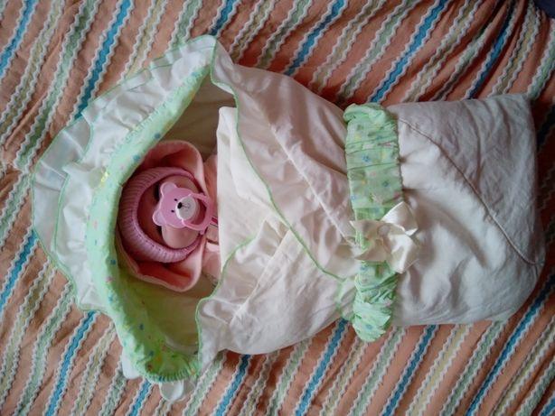 Демисезон конверт-одеяло на выписку плед новорожденный девочка мальчик
