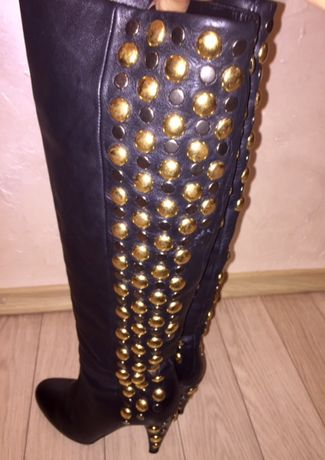 Высокие кожаные сапоги Vero Cuoio Италия