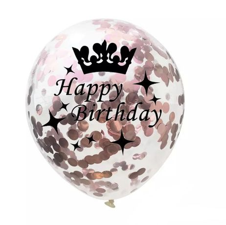 Balon z różowym konfetti na urodziny happy birthday