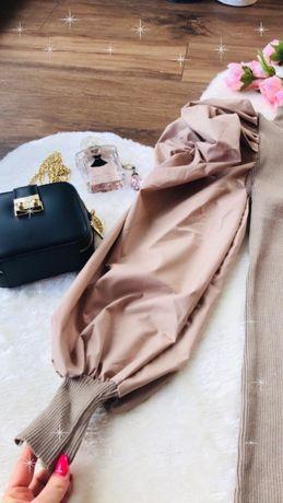 NOWA Włoska sukienka beżowa z satynowymi bufiastymi rękawami Roz UNI