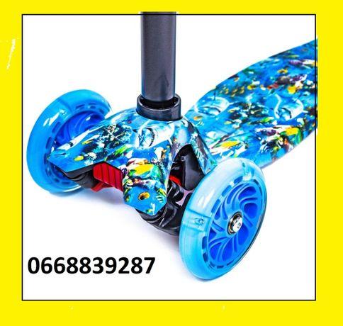 Трехколесный Самокат MAXI МАКСИ Креативные цвета Светящиеся колеса
