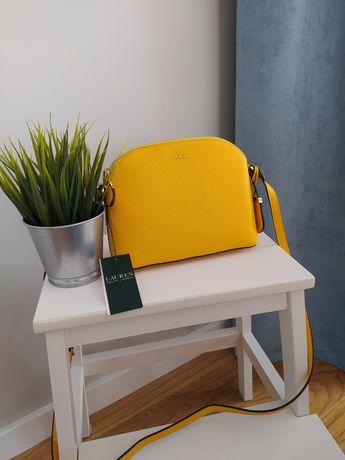 Torebka torba mała listonoszka Ralph Lauren musztardowa żółta