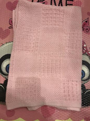 Плед розовый детский хлопок