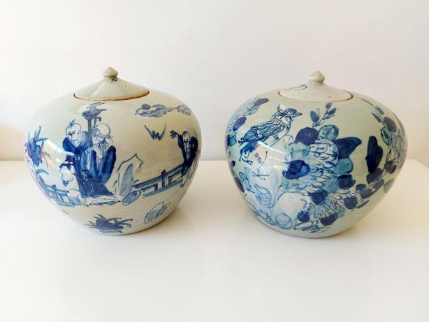 Par de Potes em porcelana chinesa Dinastia Qing - Jarra Jarrão Talha