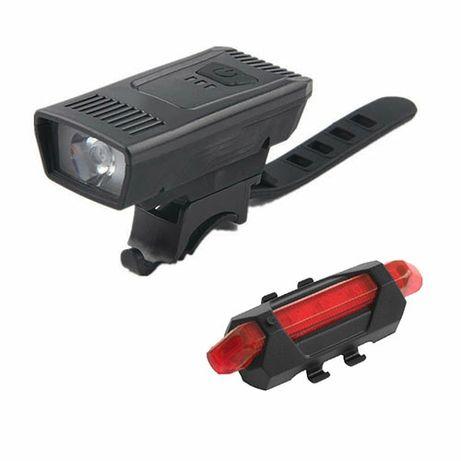 Фонарь фара велосипедная габарит 5LED micro USB встроенный аккумулятор
