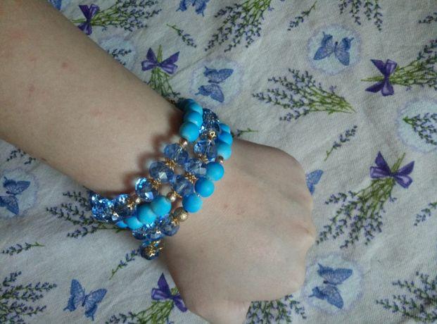 Милый синий браслет ручной работы
