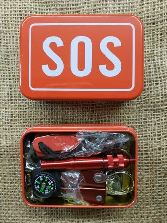 Набор SOS для выживания/на Подарок/комплект/компас/свисток/огниво/пила