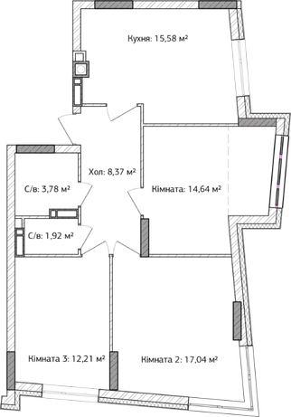 3-х комнатная квартира, рассрочка